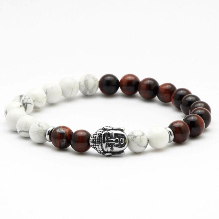 Black Moon - Howlit és Macskaszem gyöngy karkötő - Acél Buddha medál