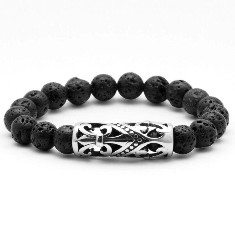 Black Wolf - lávakő ásvány karkötő - Acél liliom címer medál