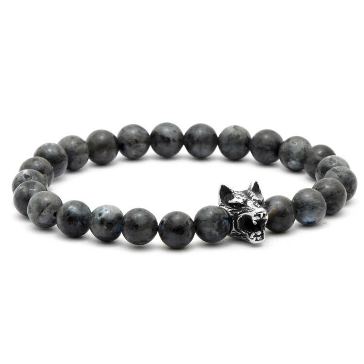 Black Wolf - Labradorit Gyöngy Karkötő - Acél Farkas Dísz