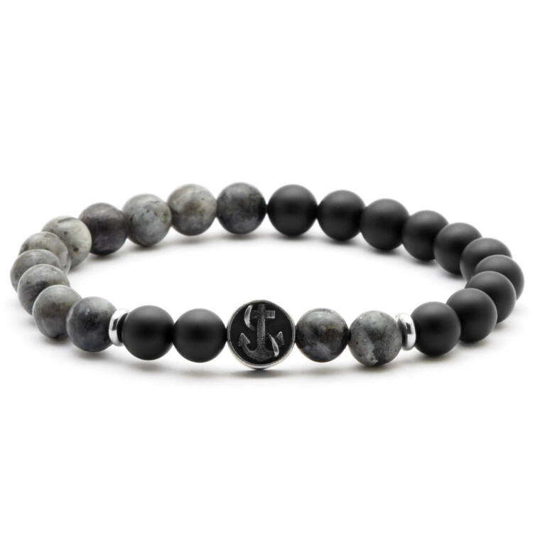 Black Moon - ónix és labradorit  ásvány gyöngy karkötő - acél horgony medál