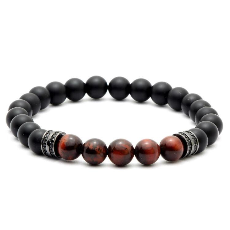 Black Moon - ónix - vörös tigrisszem féldrágakő karkötő - fekete dupla soros cirkónia köves dísz