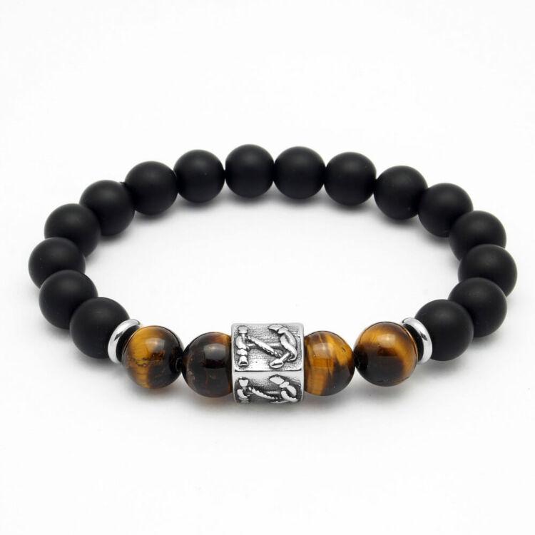Black Wolf - ónix - barna tigrisszem - ásvány gyöngy karkötő - nemesacél horgony medál