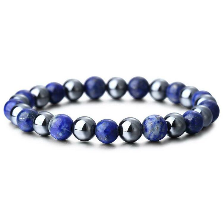 Kék Lapis Lazuli - Hematit Ásvány Karkötő