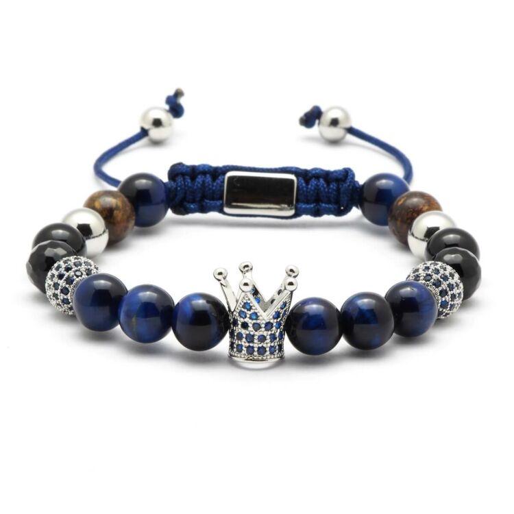 KING - Koronás Kék Tigrisszem Ásvány Karkötő - Ezüst
