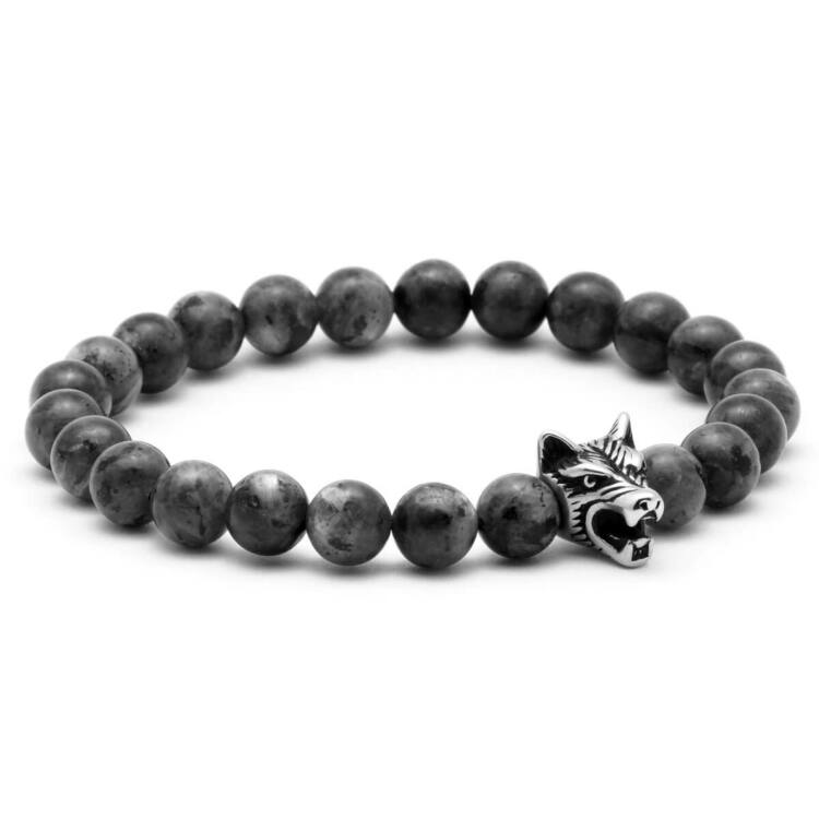 Black Wolf - Labradorit Ásvány Karkötő - Acél Farkas Dísz
