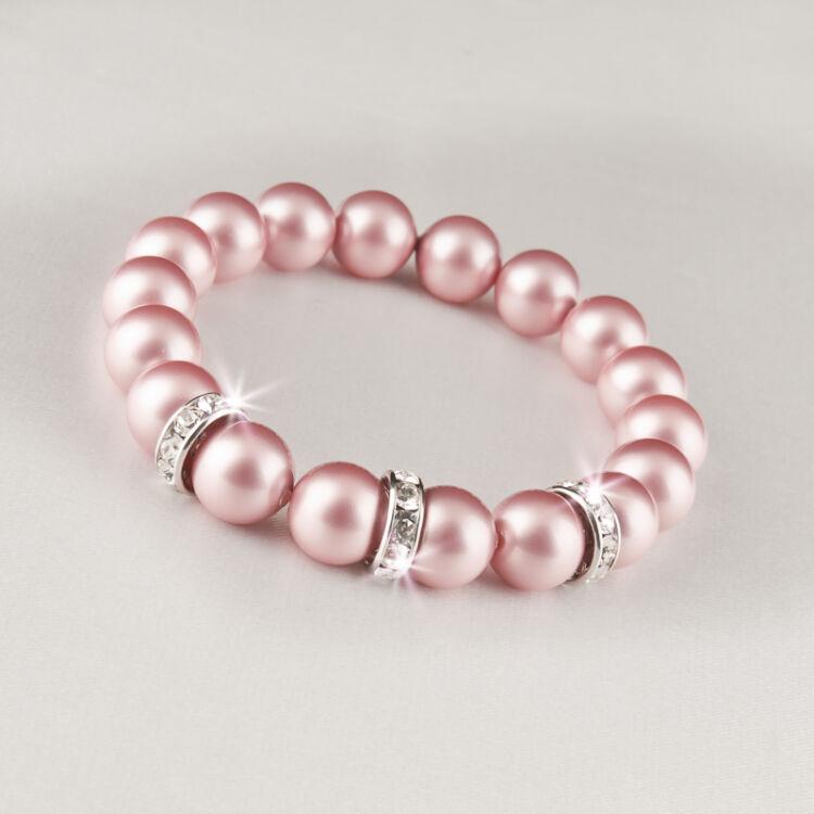 Eredeti Swarovski® Rózsaszín gyöngyökből készült karkötő, valódi, fehér Swarovski®  kristállyal díszített rondellákkal