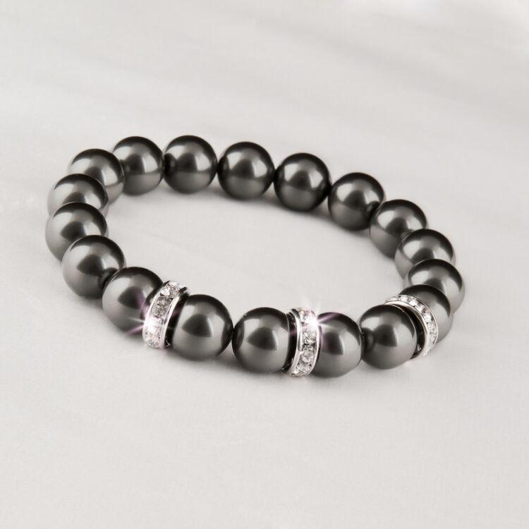 Eredeti Swarovski® Fekete gyöngyökből készült karkötő, valódi, fehér Swarovski®  kristállyal díszített rondellákkal