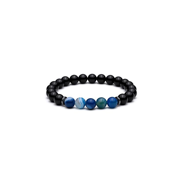 Mcllroy Fekete Onix - Kék Achát Féldrágakő Férfi Gyöngy Karkötő