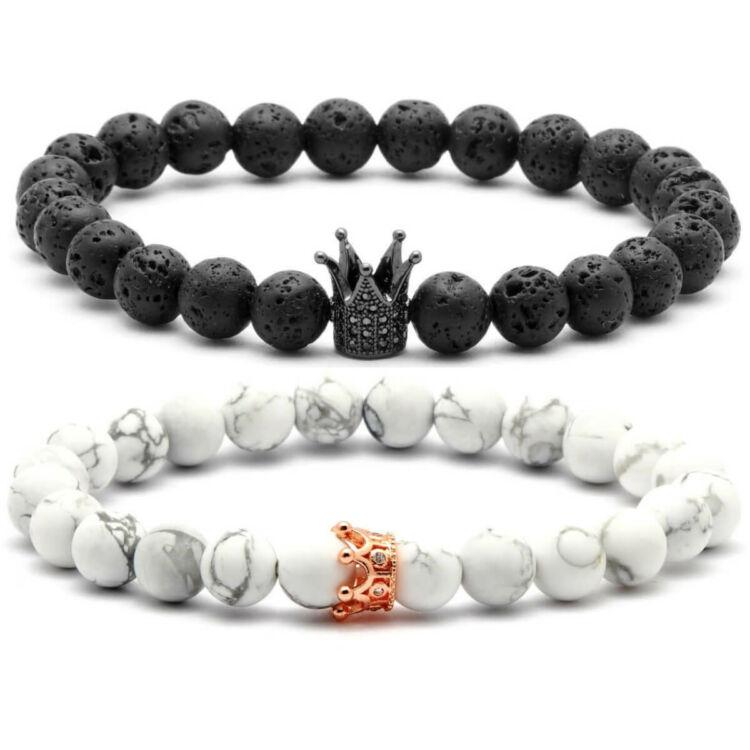 King - Queen páros ásvány gyöngy karkötő - cirkónai köves korona dísz