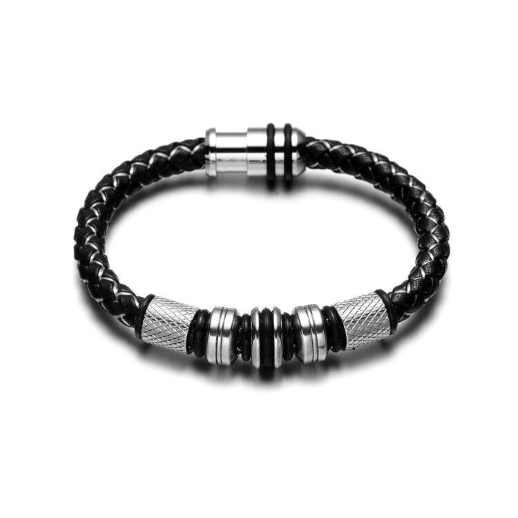 Black Wolf - Fekete és Fehér Fonott Bőr Karkötő