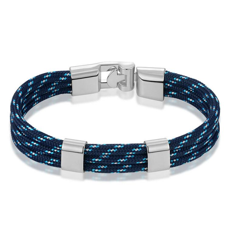 Elegáns Férfi Textil Karkötő - Kék - Ezüst Színű Dísz