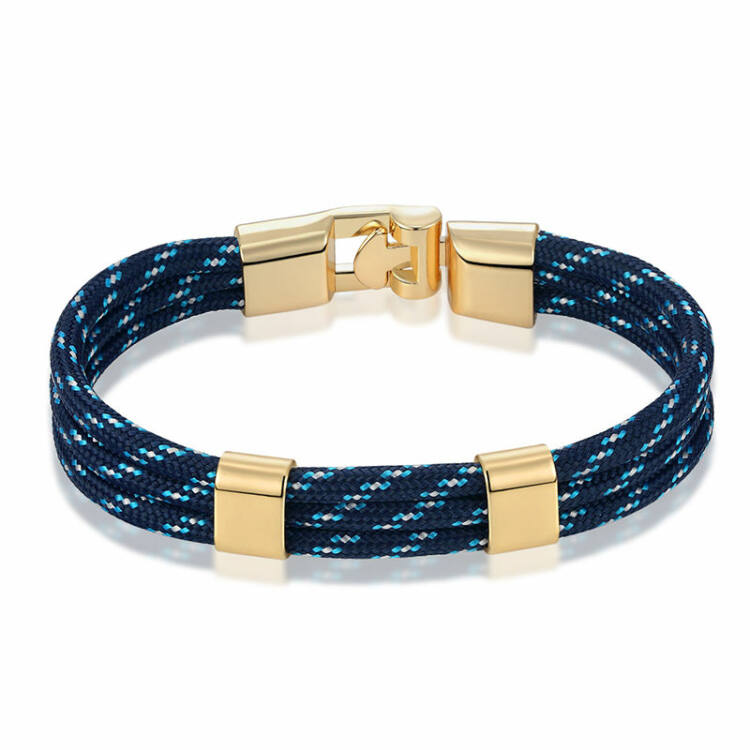 Elegáns Férfi Textil Karkötő - Kék - Arany Színű Dísz