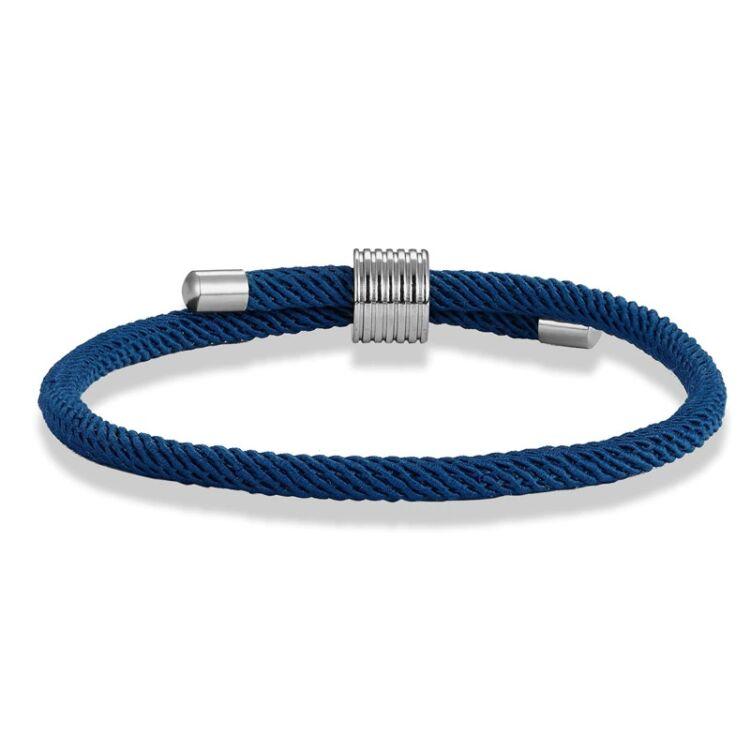 Elegáns Kék Textil Karkötő - Acél Dísz - Állítható
