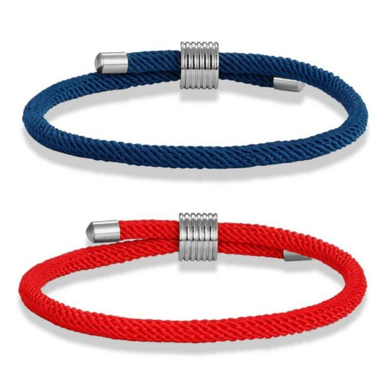 Kék és Piros Páros Textil Karkötő - Ajándék Díszdoboz