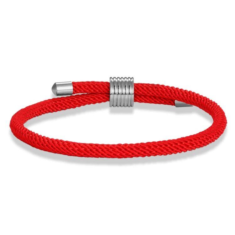 Elegáns Piros Textil Karkötő - Acél Dísz - Állítható