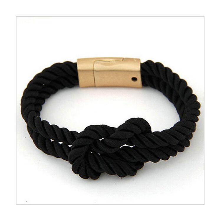 Elegáns Unisex Textil Karkötő - Fekete