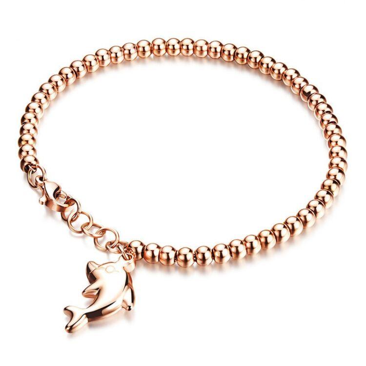 Rosegold Acél Női Karkötő Delfin Medál
