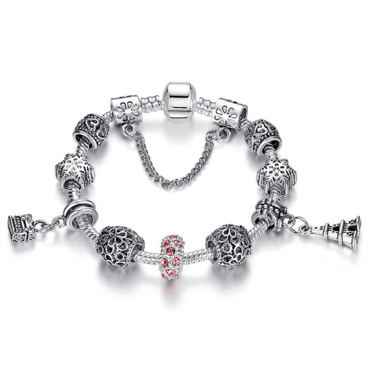 Női kristály karkötő - Ezüst - Rózsaszín