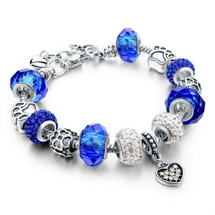 Női kristály charm karkötő - Ezüst - Kék