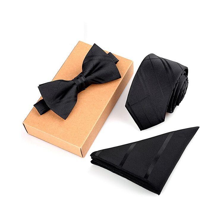 Férfi Csokornyakkendő Szett - Fekete Mintás