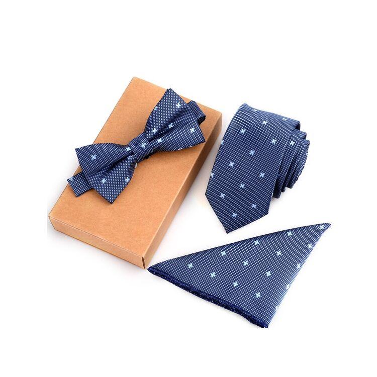 Férfi Csokornyakkendő Szett - Kék Mintás