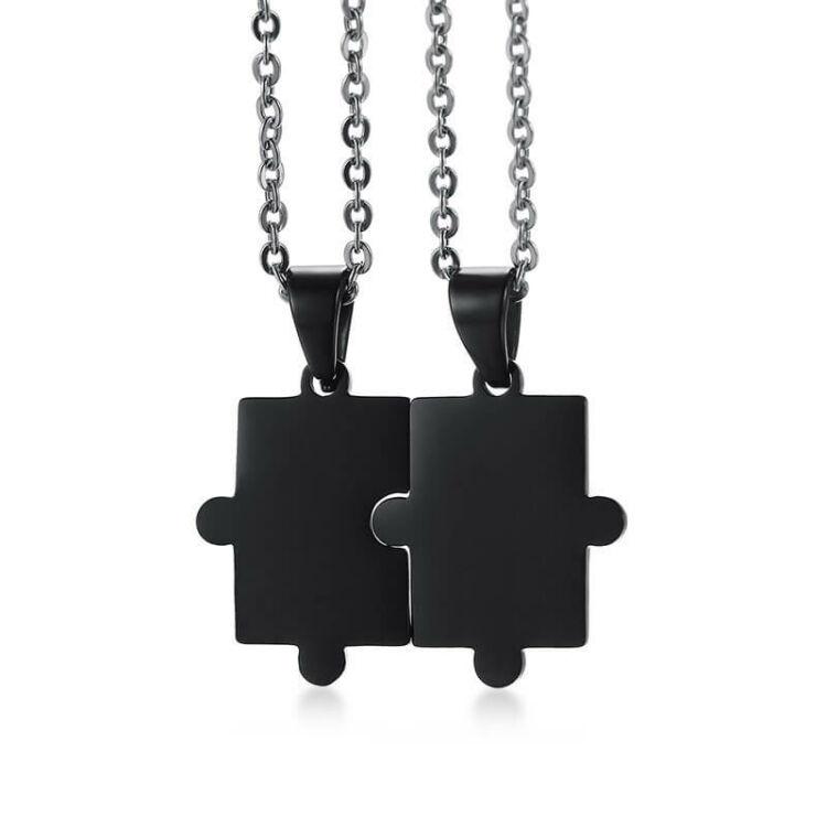 Unisex Páros Nyaklánc - Rozsdamentes Acél Puzzle Medál - Fekete