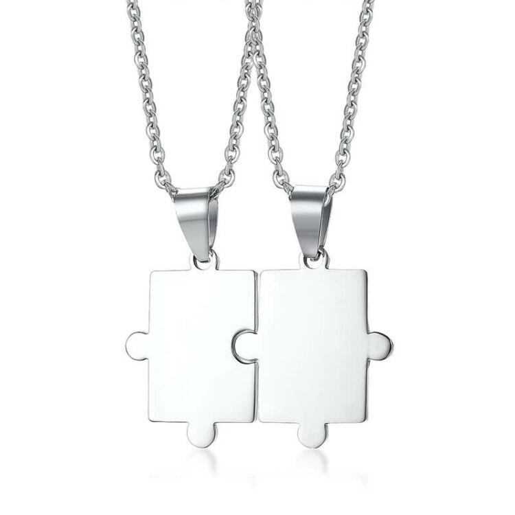 Unisex Páros Nyaklánc - Rozsdamentes Acél Puzzle Medál - Ezüst
