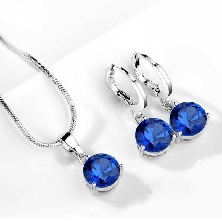 Kék Kristály Nyaklánc - Fülbevaló Szett Hölgyeknek