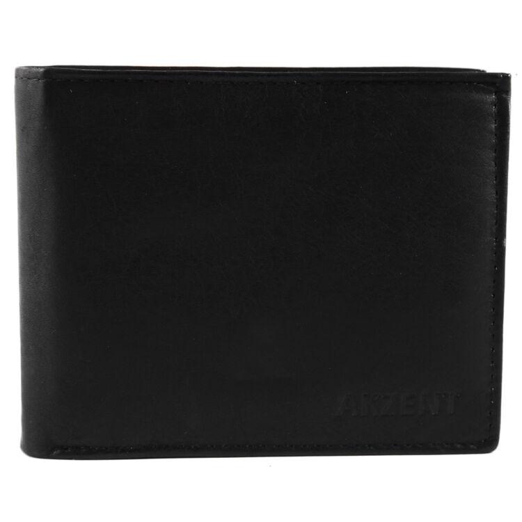 Akzent Fekete Vékony Borjúbőr Pénztárca - Fekete - Fekvő 10x12 cm